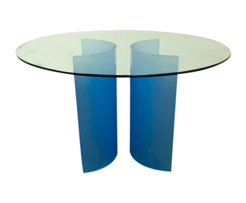 Round Glass Carosello Azure Blue Dining Table