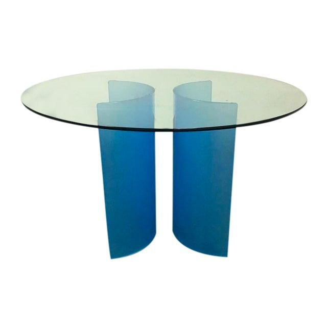 Round Glass Carosello Azure Blue Dining Table