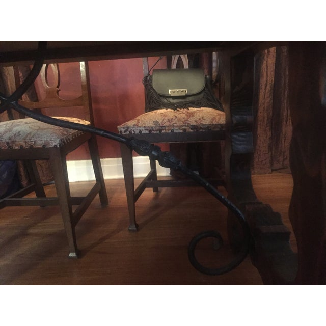 Spanish Custom Carved Wrought Iron & Wood Table - Image 3 of 4
