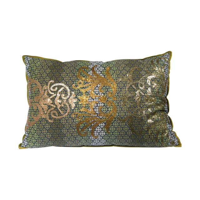 Image of Green & Gold Sequin Pillow