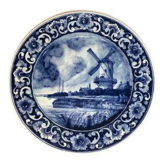 Vintage Hand Painted Blue & White Delft Platter