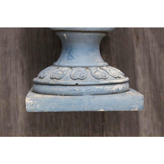 Image of Vintage Blue Urn Planters - A Pair