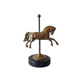 Brass Carousel Horse on Marble Base