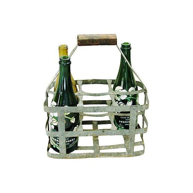 Antique French Zinc 6-Bottle Carrier - Image 3 of 6