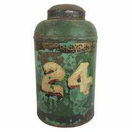 English Painted Tea Canister