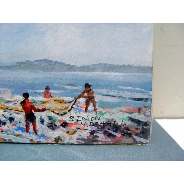Simon Michael Coastal Net Fishing Painting - Image 2 of 2