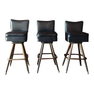 Mid Century Black Vinyl Swivel Barstools - Set of 3