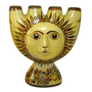 C. Villanueva Mexican Tonala SunFace Candle Holder