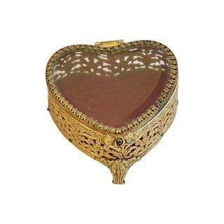 Vintage 1960s Brass & Beveled Glass Heart Box