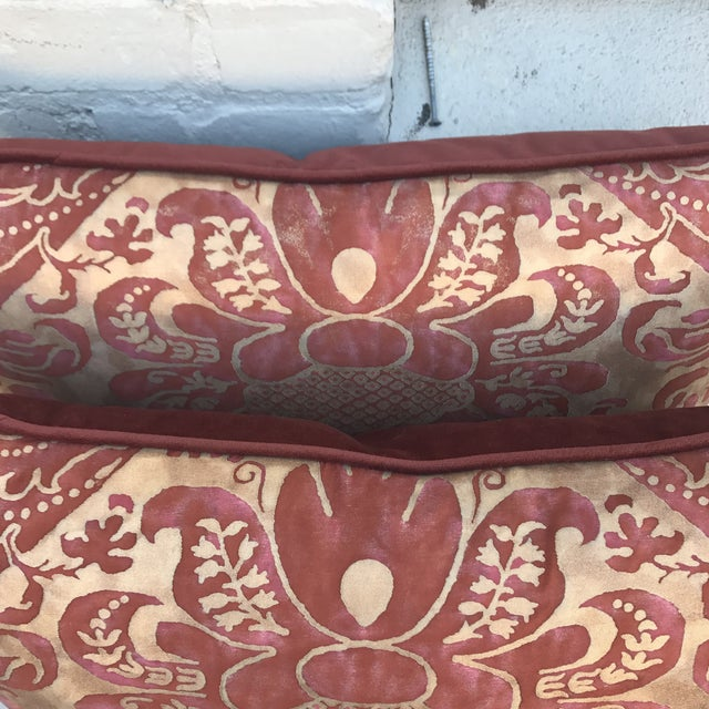 Burgundy & Gold Fortuny Pillows - A Pair - Image 4 of 5