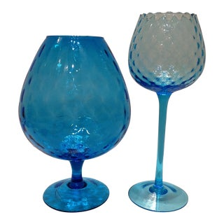 Blue Optic Glass Murano Vases - A Pair