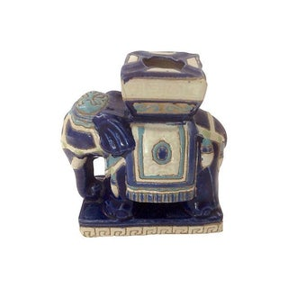 Blue & White Ceramic Elephant Ashtray