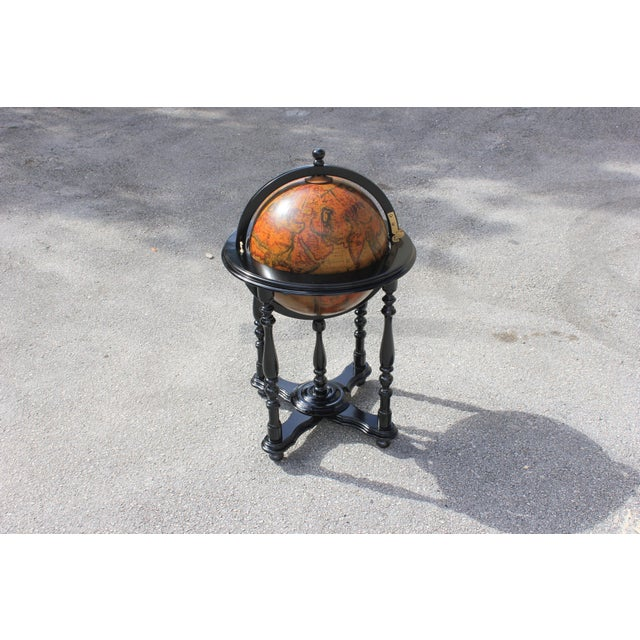 French Mid-Century Solid Mahogany World Globe Bar - Image 11 of 11