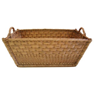 Vintage French Woven Willow Market Basket