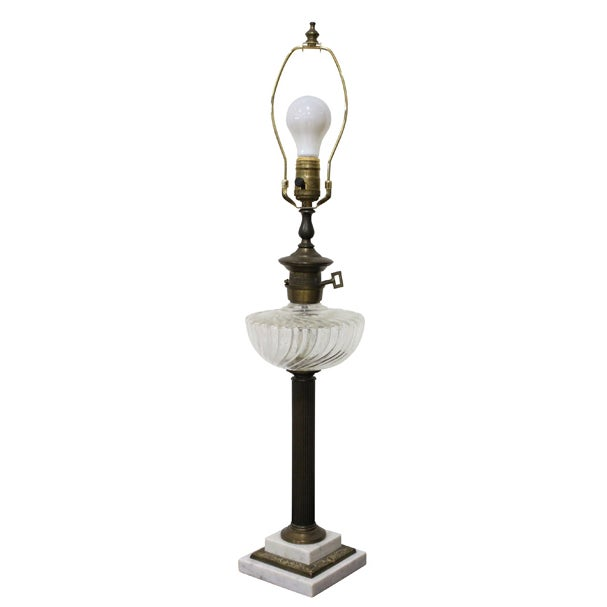 Image of Neoclassical Brass Column Table Lamp