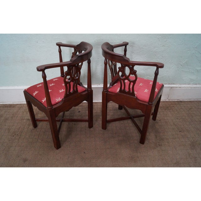 Image of Solid Mahogany Chippendale Style Corner Chairs