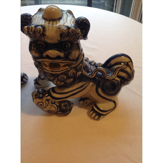 Blue & White Porcelain Foo Dogs - A Pair - Image 6 of 7