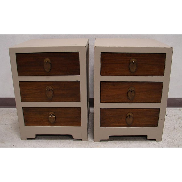 Teak Painted Night Stand Accent Table Set - Image 2 of 5