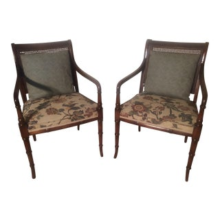 Faux Bamboo & Cane Back Chairs - A Pair