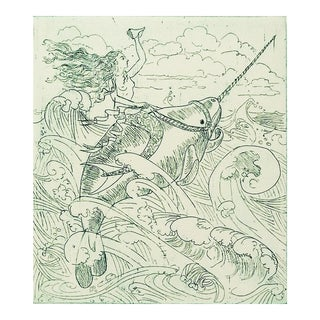 Mermaid & Narwhal Etching by H. Ohaway