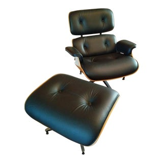 Eames Lounge Walnut & Black Leather Chair & Ottoman