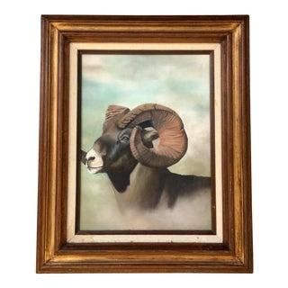 Vintage Ram Framed Painting