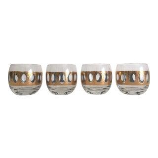 Mid-Century Gold Leaf Cocktail Glasses - Set of 4