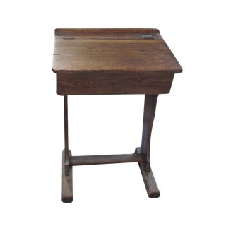 Signed English Oak School Desk