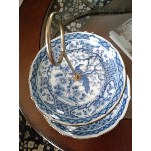 Vintage Oriental Blue Peacock Dessert Tray - Image 3 of 4