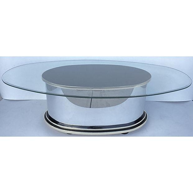 Mid-Century Metal Glass and Wood Coffee Table - Image 2 of 6
