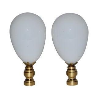 Antique 19th C Blown Glass Egg Finials - A Pair