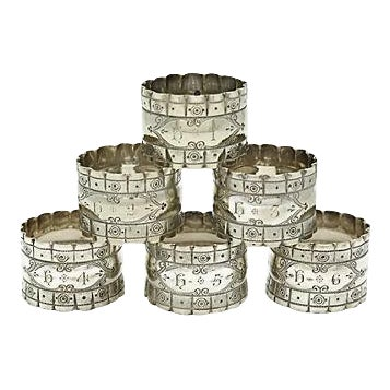 English Officers Numbered Napkin Rings - Set of 6 - Image 1 of 3