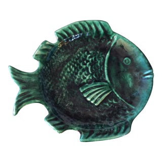 Green Majolica Fish Plate