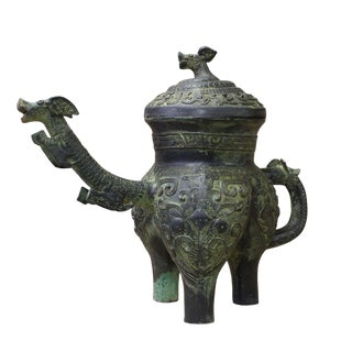 Chinese Oriental Green Bronze-Ware Display Decor