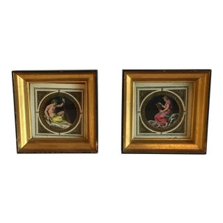 Hand Colored Prints in Gold & Black Frames - A Pair