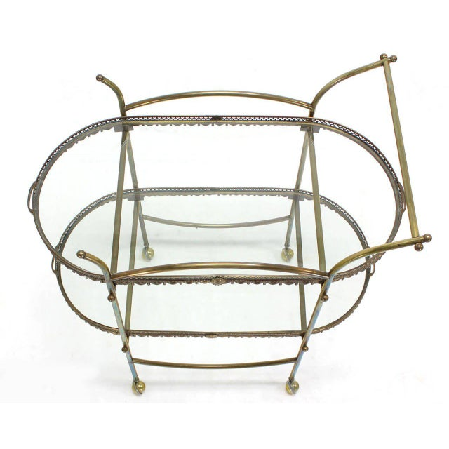 Two-Tier Brass Serving Cart Table with Removable Trays - Image 6 of 10