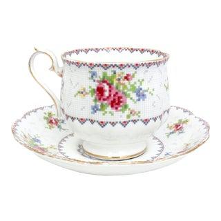 Royal Albert Petit Point Bone China Teacup and Saucer - A Pair