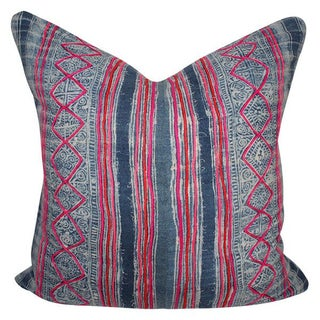 Vintage Embroidered Batik Pillow