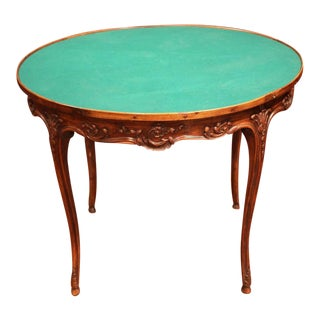 Early 20th Century French Louis XV Carved Walnut Round Game Table With Felt