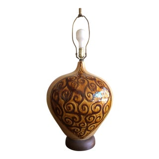Mid-Century Bulbous Ceramic Table Lamp