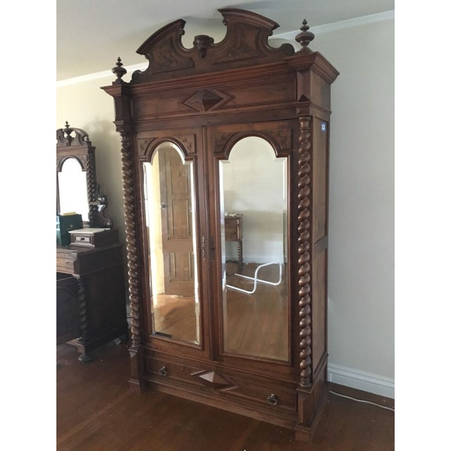 Rococo Revival Style Mahogany Mirrored Armoire - Image 2 of 10