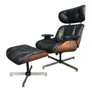 Mid-Century Eames Style Lounge Chair & Ottoman