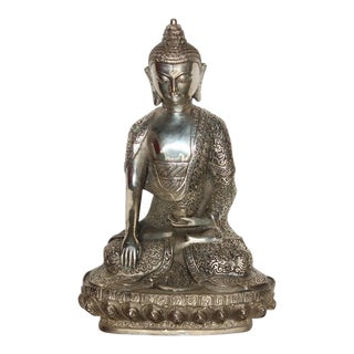 Silver Plated Sitting Buddha