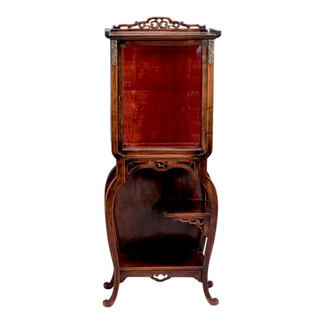 Tall Narrow Chinese Carved Wood Vitrine Display Cabinet - Image 1 of 11