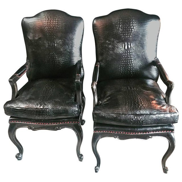 Image of Leather Crocodile Library Chairs - A Pair