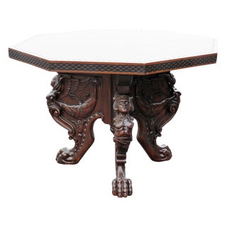 Victorian Figural Carved Octagonal Center Table