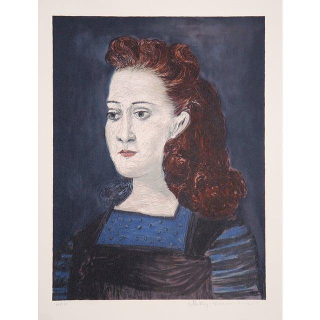 Pablo picasso la collerette bleue lithograph chairish - La chambre bleue picasso ...