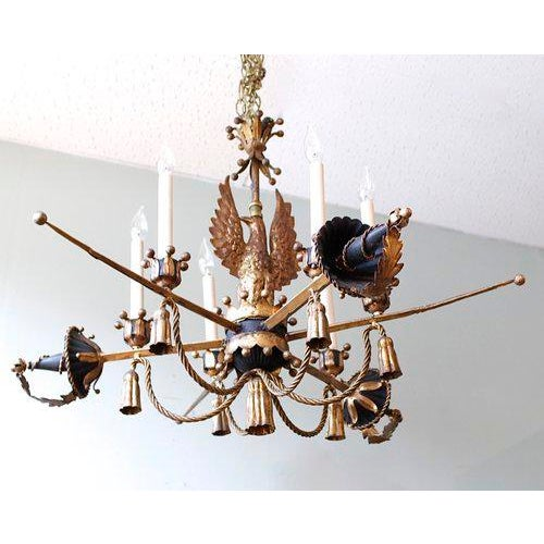 Tôle Painted and Gilt Eagle and Swords Chandelier - Image 2 of 9