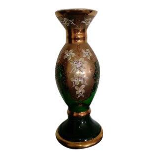 Vintage Bohemian Czech Green Glass Vase