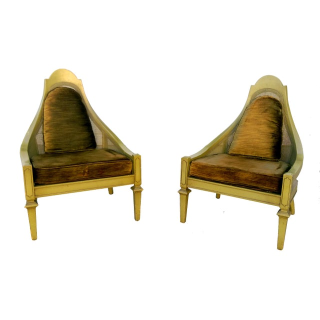 Mid-Century Green Cane Slipper Chairs - A Pair - Image 5 of 10